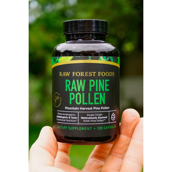 RAW Forest Foods RAW Pine Pollen Capsules — Single Origin, Cracked Cell Wall, Non-Irradiated — 120 Count