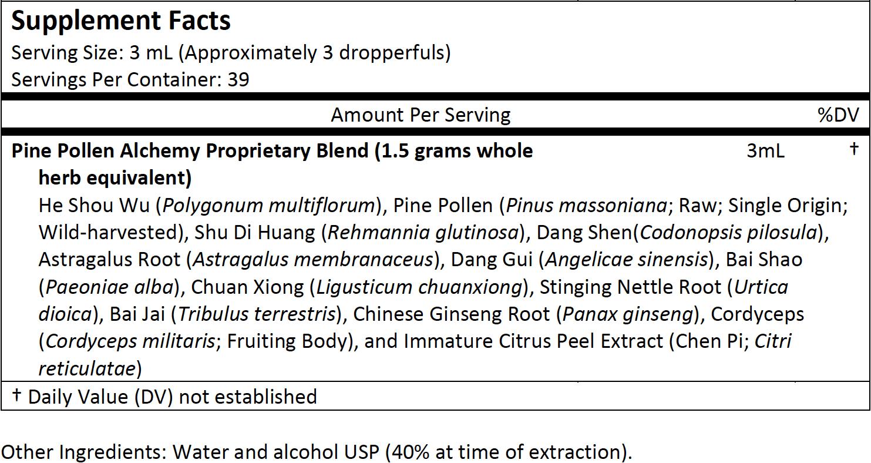 Pine Pollen Alchemy Supplement Facts 4 Ounce