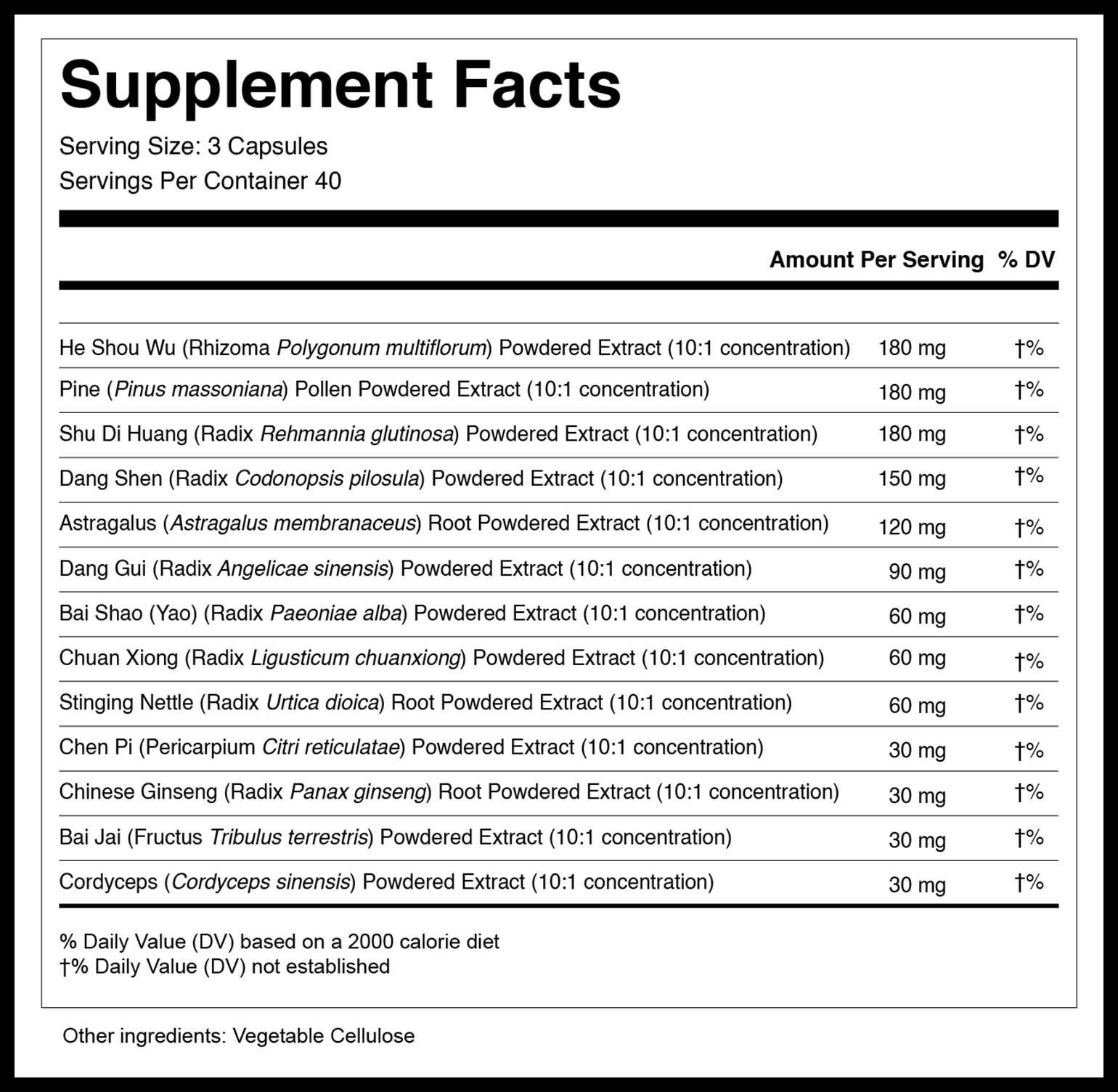 Endocrine Strengthening Formula Capsules Supplement Facts