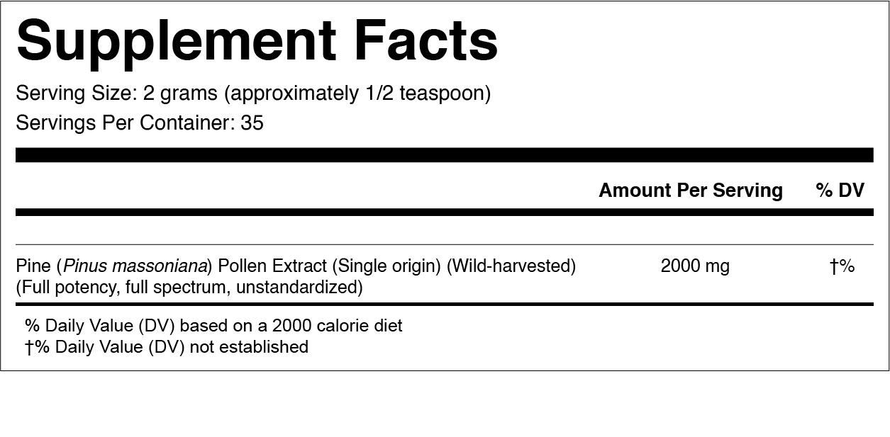 Pine Pollen Extract Supplemental Facts