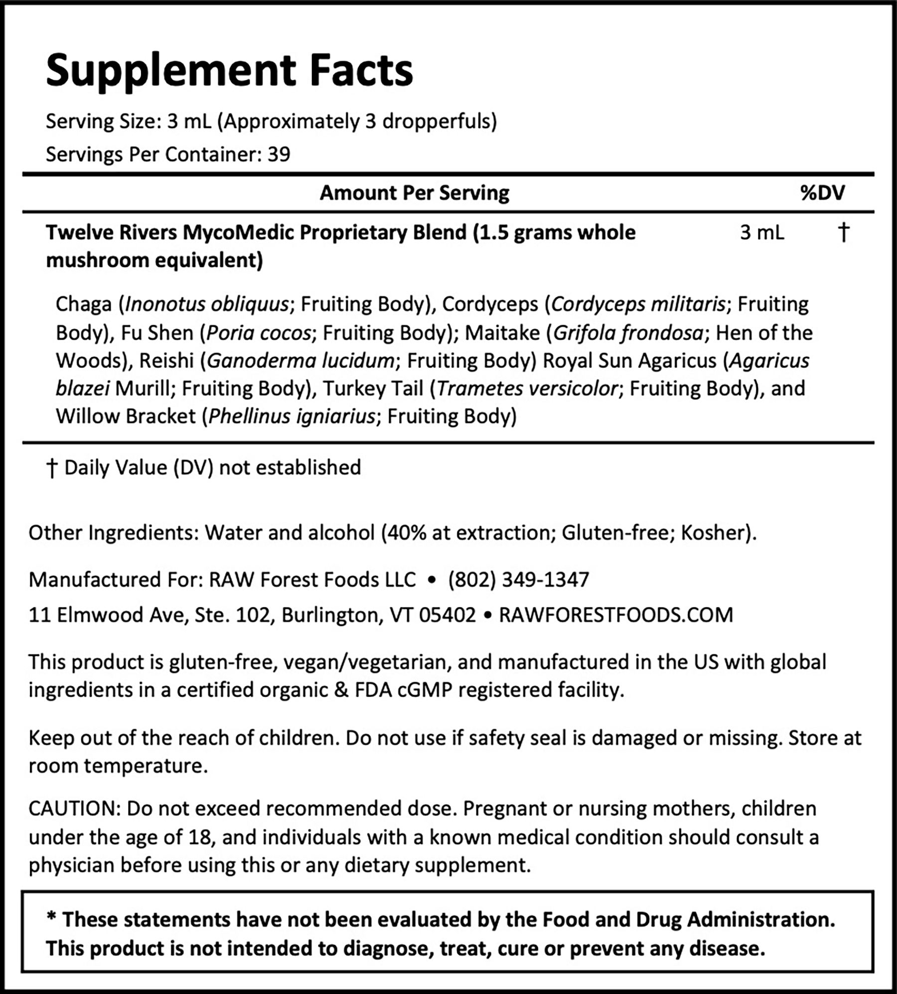 Twelve Rivers MycoMedic Tincture 4 Ounce Supplement Facts