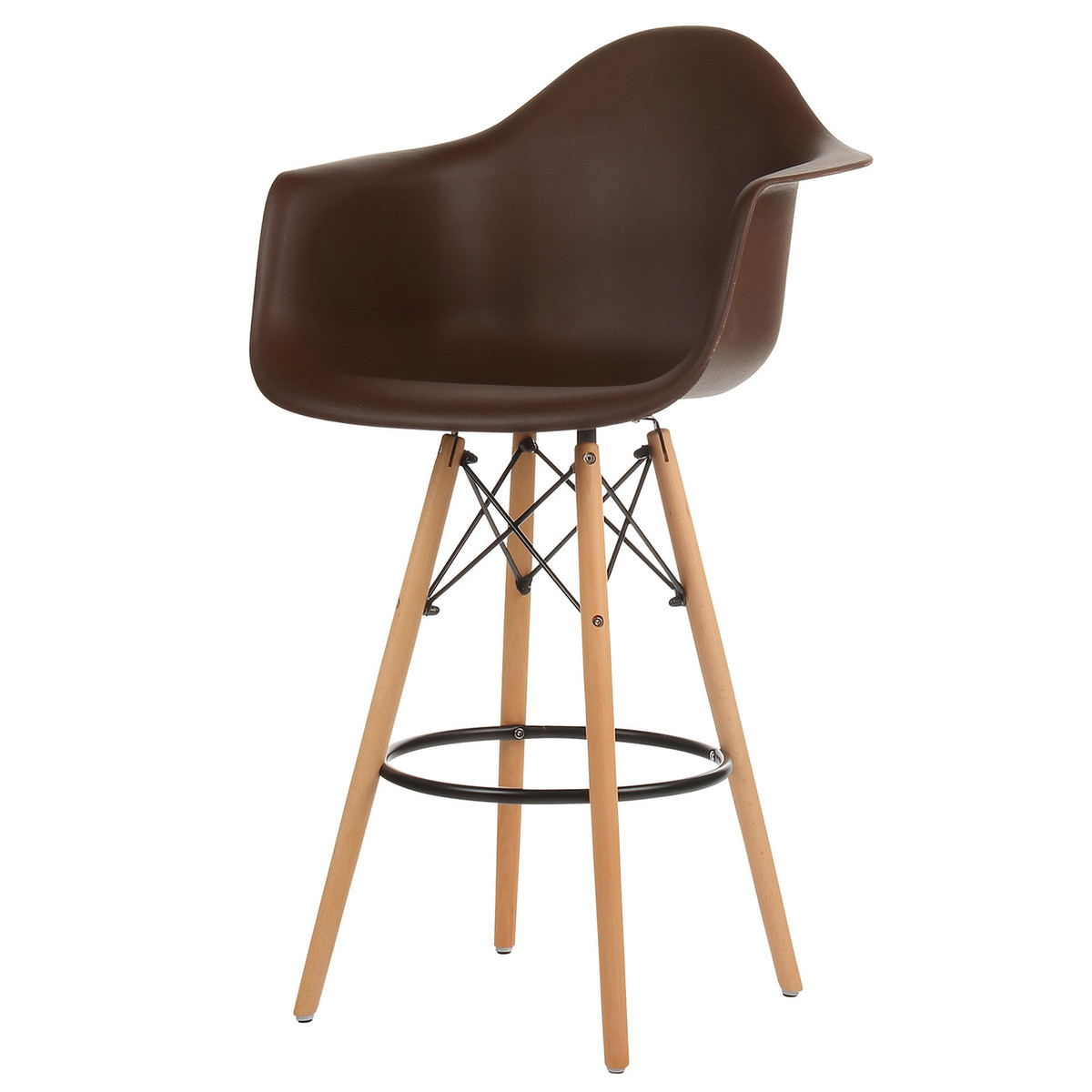 Cool Mid Century Modern Counter Stool With Arms Brown Squirreltailoven Fun Painted Chair Ideas Images Squirreltailovenorg