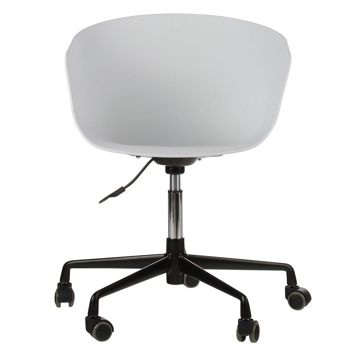 Danish Mid Century Modern White Office Chair With Black Aluminum Frame Ja Ofc Dn Bk Joseph Allen Home