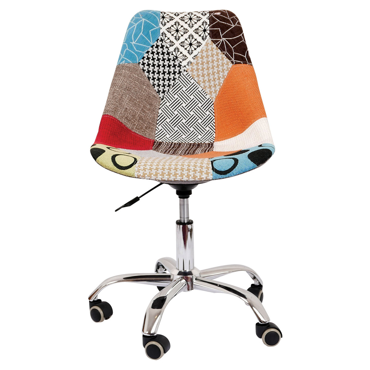 Jacob Mid Century Modern Multicolor Patch Fabric Upholstery Office Chair