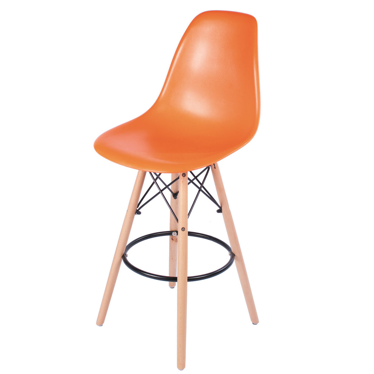 Charles Eames Style Dsw 26 Counter Stool Orange