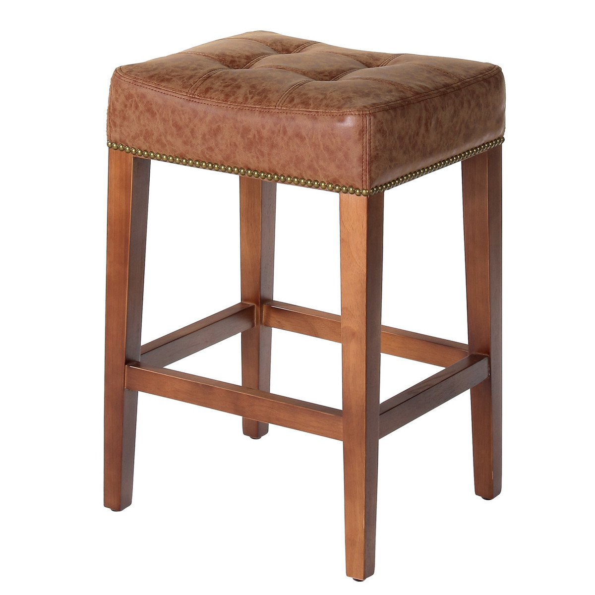 Nashville Low Counter Stool Vintage Leather 24 Oak