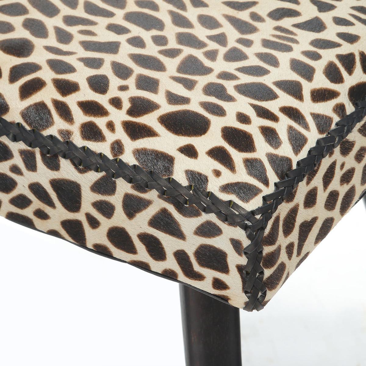 Swell Safari Cow Hide Mahogany Vanity Stool Leopard Print Cjindustries Chair Design For Home Cjindustriesco