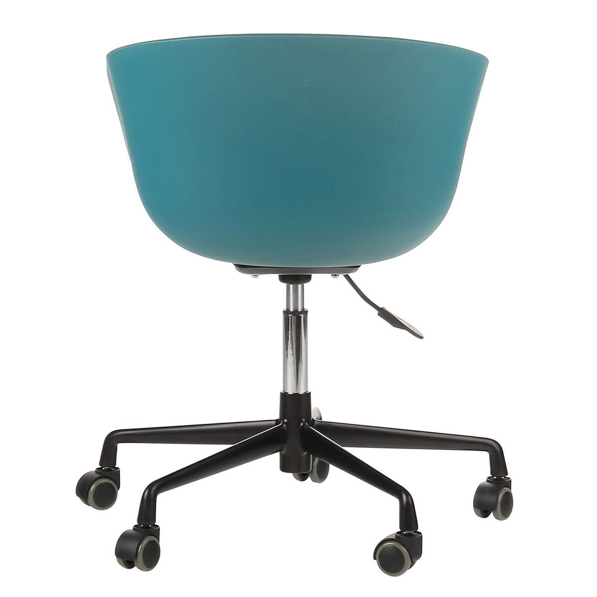 Danish Mid-Century Modern Teal Office Chair with Black Aluminum Frame
