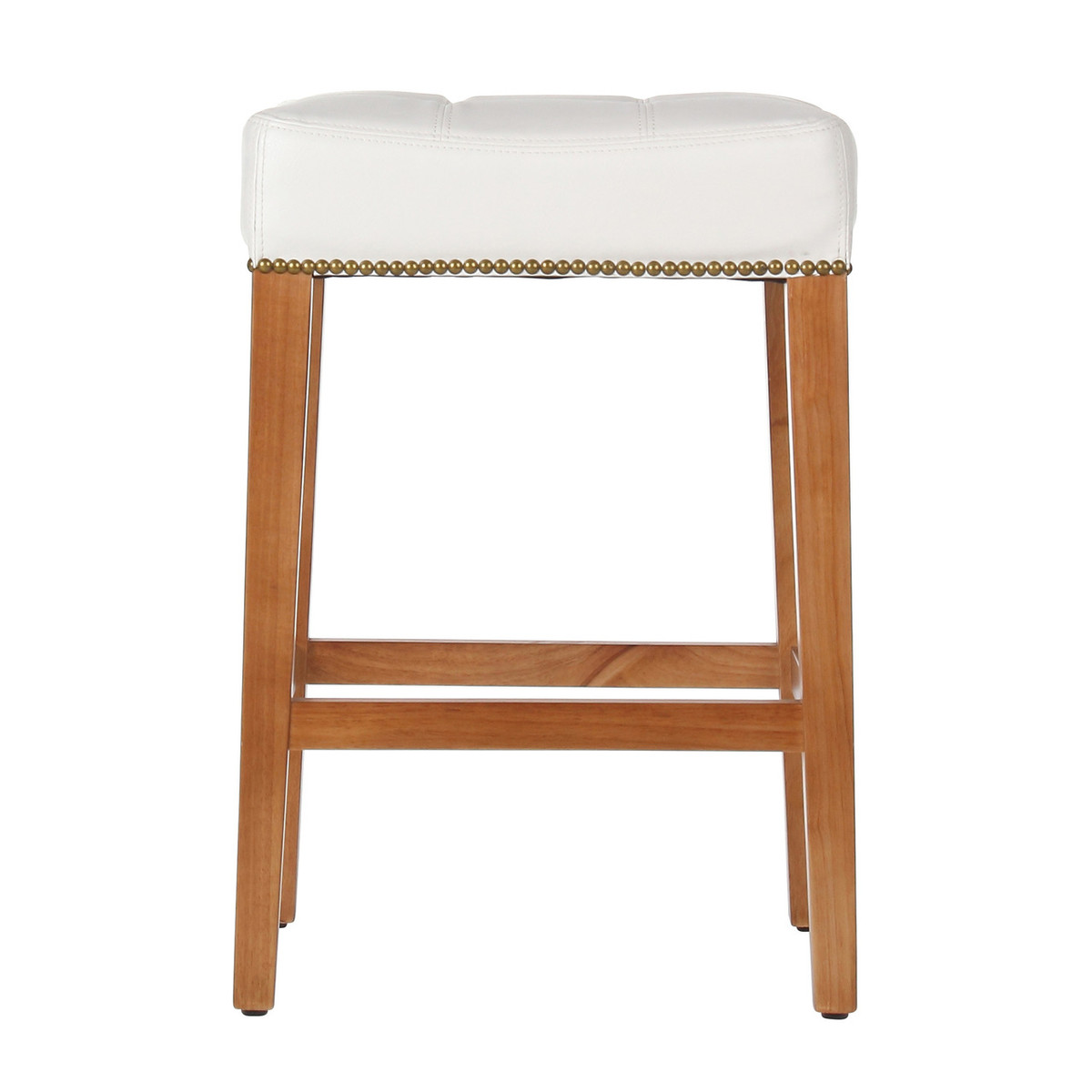 Nashville 26 inch vintage white leather counter stool brass nailhead trim