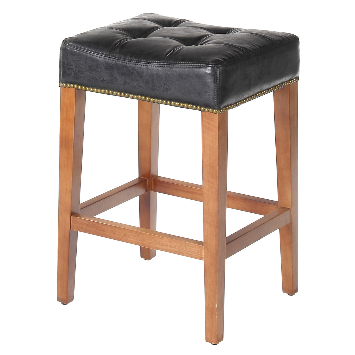 Nashville 26 Inch Vintage Black Leather Counter Stool Brass