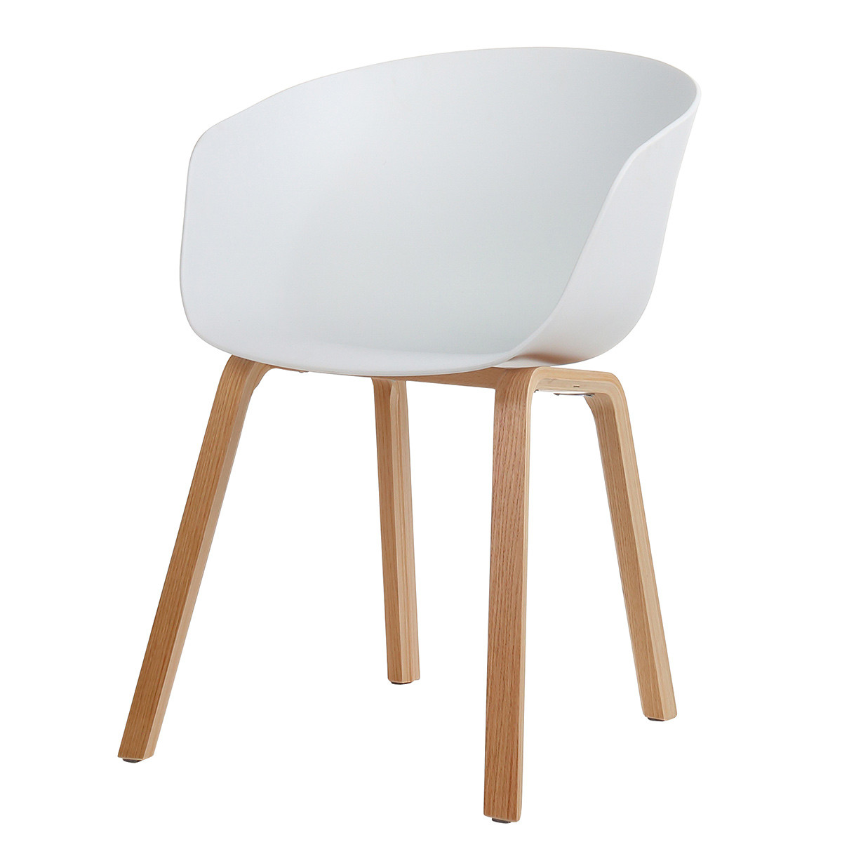 Danish mid century modern white side chair curved wood legs