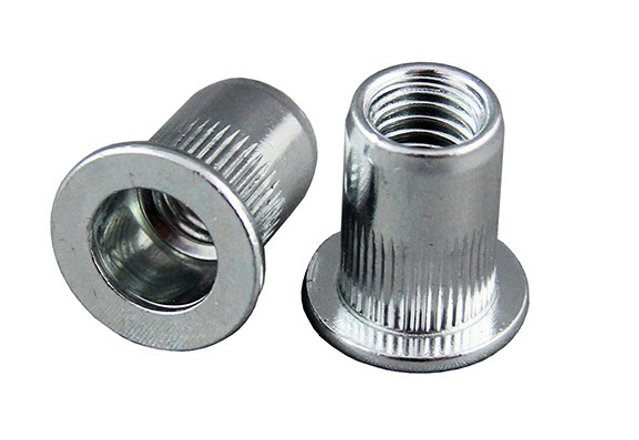Large Flange Nutserts (Rivet Nut)  -  Round Splined Body Pack of 10