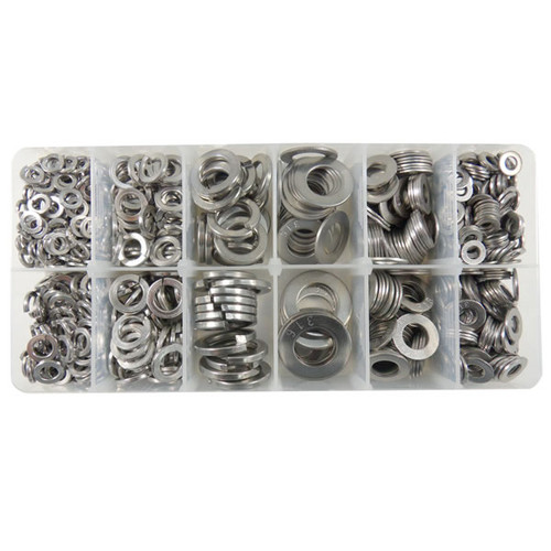 Flat and Spring Washer Assortment Kit Metric - Stainless Steel Grade 316 - 860 Pieces - KITIT-1080058