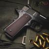 VZ's Tactical Slants Black Cherry G-10 grips on a black Colt 1911