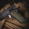 VZ Operator Dirty Olive G-10 grips on a black Colt® 1911