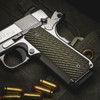 VZ Slant Dirty Olive G-10 grips on a stainless Colt® 1911 customized by Pete Single.