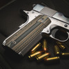 VZ ETC Hyena Brown G-10 grips on a stainless Colt 1911 customized by Pete Single.