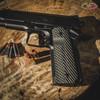 VZ Operator II™ Dirty Olive G-10 grips on a black Colt® 1911