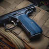 VZ Grips' VZ Operator II™ Blue Black G-10 grip on a  CZ Shadow 2, lifestyle photo