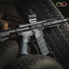 VZ Grips' VZ Operator II™ AR-15 grip in Black Gray G-10 mounted on a black AR with matching M-LOK rail panels.