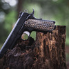 VZ Hydra™ Hyena Brown Burl on a black Kimber® 1911