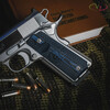 Colt® Logo Series Blue Black G-10 grips on a stainless Colt® Delta Elite 1911
