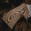 VZ Grips' Tactical Diamond Hyena Brown G-10 Round-2-Square Conversion grips on a round bottom Smith & Wesson N-Frame revolvers, lifestyle photo