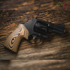 VZ Grips' VZ 320 Hyena Brown G-10 Round-2-Square Conversion grips on a round bottom Smith & Wesson N-Frame revolvers, lifestyle photo