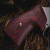 VZ Grips' VZ 320 Black Cherry G-10 Round-2-Square Conversion grips on a round bottom Smith & Wesson N-Frame revolvers, lifestyle photo