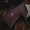 VZ Grips' VZ Operator II™ Black Cherry G-10 Round-2-Square Conversion grips on a round bottom Smith & Wesson N-Frame revolvers, lifestyle photo