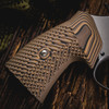 VZ Grips' VZ Operator II™ Hyena Brown G-10 Round-2-Square Conversion grips on a round bottom Smith & Wesson N-Frame revolvers, lifestyle photo