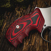 VZ Grips' Tactical Diamond Black Red G-10 Grips on a round bottom Smith & Wesson N-Frame revolver, lifestyle photo