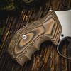 VZ Grips' Tactical Diamond Hyena Brown G-10 Grips on a round bottom Smith & Wesson N-Frame revolver, lifestyle photo