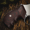VZ Grips' Tactical Diamond Black Cherry G-10 Grips on a round bottom Smith & Wesson N-Frame revolver, lifestyle photo