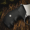 VZ Grips' Tactical Diamond Black G-10 Grips on a round bottom Smith & Wesson N-Frame revolver, lifestyle photo