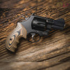 VZ Grips' VZ 320 Hyena Brown G-10 Grips on a round bottom Smith & Wesson N-Frame revolver, lifestyle photo