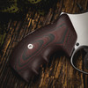 VZ Grips' VZ 320 Black Cherry G-10 Grips on a round bottom Smith & Wesson N-Frame revolver, lifestyle photo