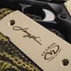 Larry Vickers signature and VZ Grips logo engraved on the back of a Larry Vickers Double Diamond 1911 Grip
