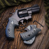 VZ Grips' VZ 320 and Tactical Diamond Black Gray G-10 Boot grips on a round bottom Smith & Wesson N-Frame revolvers, lifestyle photo