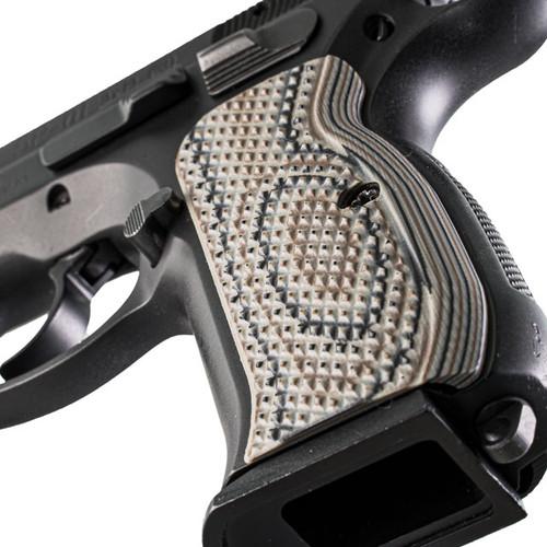 VZ Grips' Diamond Back Palm Swell G-10 CZ 75 grips, hero photo