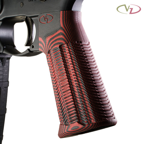 VZ Grips' Alien® AR-15 grip in Black Red G-10 mounted on a black AR with a white background