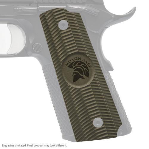 VZ Grip's Alien® full-size G-10 1911 grip with Molon Labe engraving