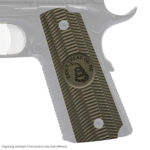 VZ Grip's Alien® full-size G-10 1911 grip with Gadsden (Don't Tread On Me) engraving