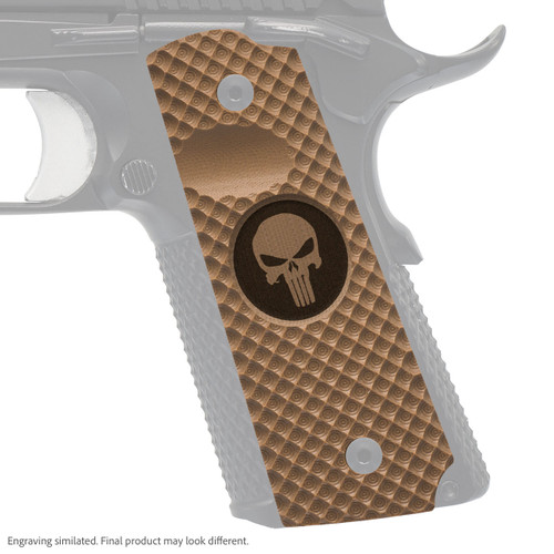 VZ Grips' VZ Recon full-size G-10 1911 grip with Punisher II (inverted) skull engraving