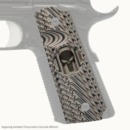 VZ Grips' VZ Operator II™ full-size G-10 1911 grip with Punisher skull engraving