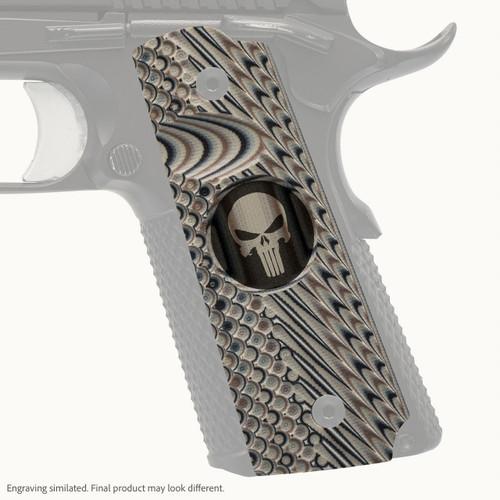 VZ Grips' VZ Operator II™ full-size G-10 1911 grip with Punisher II (inverted) skull engraving