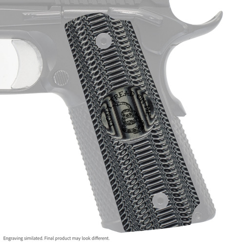 VZ Grip's Alien® compact G-10 1911 grip with Gadsden (Don't Tread On Me) engraving