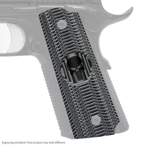 VZ Grips' Alien® compact G-10 1911 grip with Punisher skull engraving