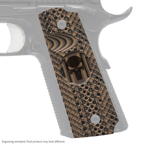 VZ Grips' VZ Recon compact G-10 1911 grip with Punisher skull engraving