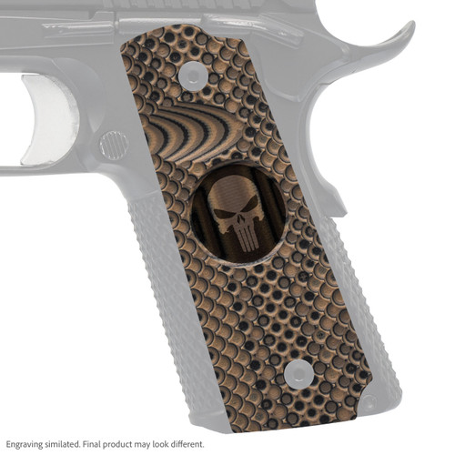 VZ Grips' VZ Recon compact G-10 1911 grip with Punisher II (inverted) skull engraving